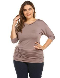 65d3b38432a Zeagoo Womens Plus Size V-neck Tunics Shirts Casual 3/4 Batwing Sleeve Tops