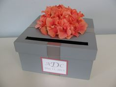 Gray Wedding Card Box with orange coral hydrangeas and personalized tag- You Customize colors and Flowers on Etsy, $50.00