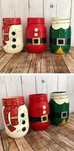 Christmas Mason Jars, Christmas centerpiece, Snowman decor, Santa decor, Christmas elf decor, santa's helper, hand painted, Set of 3 Mason jars, Rustic Home decor, Rustic Christmas #ad