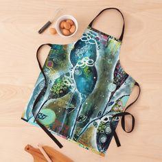 Gardening Apron, Night Garden, Organic Shapes, Black Tie, Print Design, Art Prints, Printed, Awesome, Artwork