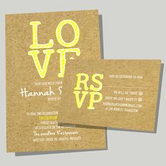 L.O.V.E   A Modern invite & RSVP - available to be personalised with your details for your wedding. Available in other colours on the website or colours can be modified to match your wedding theme
