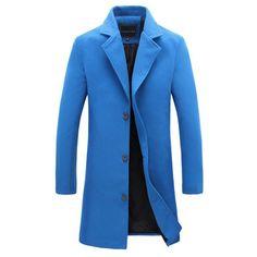 New men's woolen coat solid color Fashion long paragraph Slim lapel coat male Business suits men's casual jacket 4XL 5XL
