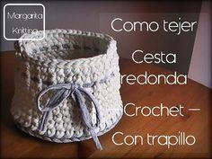 Como se hace una cesta redonda de trapillo a crochet (zurdo) - YouTube
