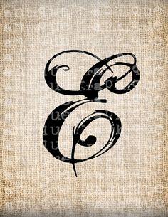 Antique Letter E Script Monogram Digital Download for Dictionary Pages, Papercrafts, Transfer, Pillows, etc.Burlap No 7517