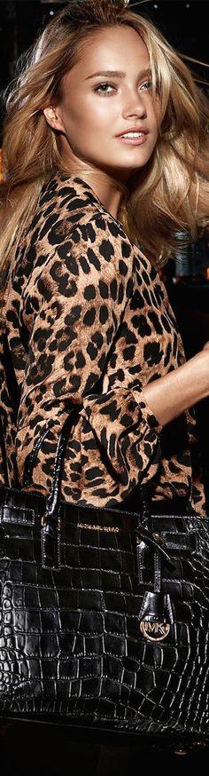 Animal print blouse and Michael Kors bag