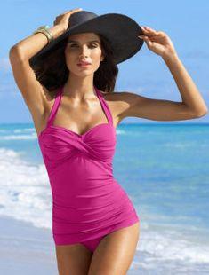 00ff05187d827 Vintage-style turquoise one-piece swimsuit Flattering one-pics swim suit  with detatchable halter strap and tie back. Jantzen Swim One Pieces