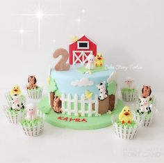 <br> Our Farm Animals mould gives you not one but FIVE cute, detailed figures! Pig, Cow, Lamb, Horse and a Chick! Designed by Alice. Farm Birthday Cakes, Animal Birthday Cakes, Farm Animal Birthday, Farm Animal Party, Baby Birthday, Barnyard Cake, Farm Cake, Farm Animal Cakes, Farm Animals