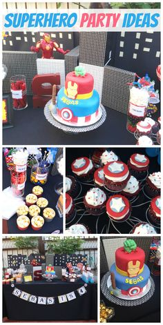 Check out this awesome superhero boy birthday party with fun games and an amazing cake!  See more party ideas at CatchMyParty.com!