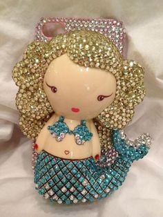 Iphone 4 4S bling crystal HARAJUKU LOVERS Mermaid Handmade 3D cover case
