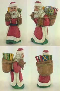 Red and Green Santa with Sack - Carved by Russell Scott
