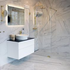 Coem Marmor B. Carrara, Helsingborg, Home Renovation, Double Vanity, Bathtub, Indoor, House Design, Bathroom, Furniture