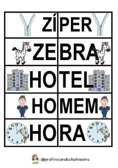 Jogo de Alfabetização letras X - Z - H - Q palavras dissílabas ~ Espaço do Professor