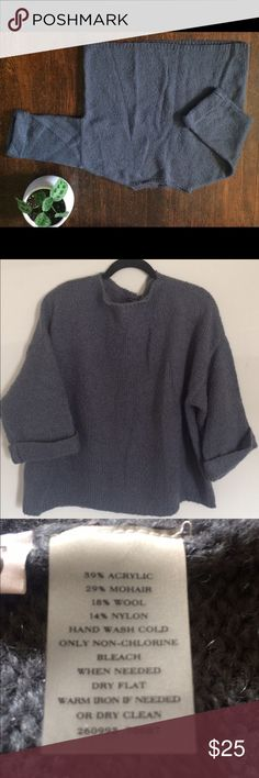 Ann Taylor Blue Sweater Chunky and loose. Thick rolled sleeves. Medium (fits fairly loose). 39% acrylic, 29% mohair, 18% wool, 14% nylon. 29 in bust, 23 inch length, 24 in from neck down sleeve. Ann Taylor Sweaters Crew & Scoop Necks