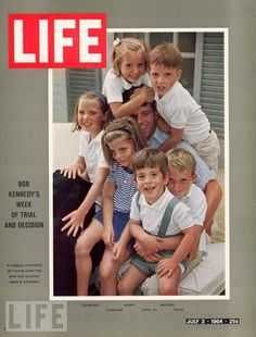 John Jr. and his sister Caroline, along with their Kennedy cousins, crowd around Robert F. Kennedy on the July 3, 1964, cover of LIFE. At the time Robert was still serving as attorney general, and would go on to serve as a U.S. senator before running for the presidency.