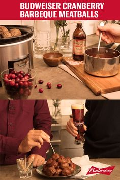 When you hear cranberry sauce, you think Thanksgiving turkey. But we're mixing up this traditional dish and combining it with the Budweiser 1933 Repeal Reserve to make cranberry barbecue meatballs. Combine whole berry cranberry sauce, ketchup, apple cider vinegar, brown sugar, molasses, yellow mustard, and the Amber Lager in a saucepan and gently simmer until thickened. Pour the sauce into a crockpot with your meatballs and let them cook on low for 6 hours. Believe us, it's worth the wait.