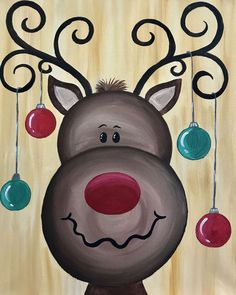 christmas paintings View Paint and Sip Artwork - Pinots Palette Christmas Rock, Christmas Signs, Christmas Decorations, Christmas Cookies, Reindeer Christmas, Homemade Christmas, Christmas Trees, Christmas Projects, Holiday Crafts