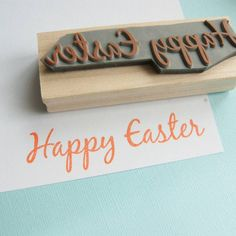 Large Happy Easter Rubber Stamp