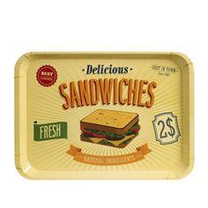 CKB Ltd® American Style Retro Diner SANDWICHES Food SERVING TRAY Plateau Mélamine Cuisine Idéal pour le dîner, Tea Time, sandwiches, des snacks et Plus - Fabriqué à partir de plastique solide Mélamine