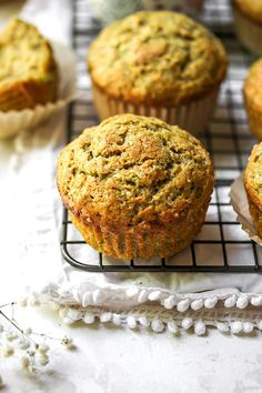 These fluffy, moist zucchiin muffins make a great breakfast on the go or snack! A great recipe for using up the garden zucchini in the summertime! Best Zucchini Recipes, Zucchini Muffin Recipes, Lemon Recipes, Banana Zucchini Muffins, Delicious Breakfast Recipes, Breakfast On The Go, Dessert Bread, Have Time, Tasty