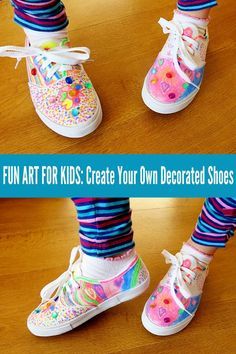 These DIY decorated tennis shoes will have your child stepping out with rainbows at their feet! Great vacation art and craft project.