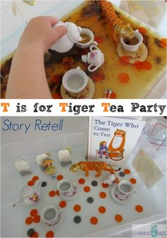 is for Tiger Tea Party Story Retell Multi-sensory story retell - t is for tiger who came for teaMulti-sensory story retell - t is for tiger who came for tea Letter T Activities, Eyfs Activities, Nursery Activities, Learning Activities, Activities For Kids, Teaching Resources, Story Sack, Story Story, Story Books