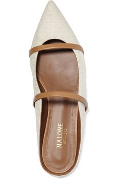 Malone Souliers | Leather-trimmed linen point-toe flats | NET-A-PORTER.COM