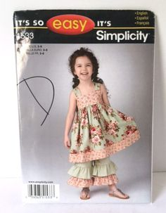 Simplicity 1533 Sewing Pattern Girls Party Portrait Dress Bloomers Pants 3 4 5 6…