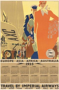 """whisters: """" 1935 Promotional Calendar by Imperial Airways. Illustration by Tom Purvis. Travel Ads, Air Travel, Vintage Calendar, Retro Poster, Vintage Travel Posters, Vintage Airline, Advertising Poster, Vintage Advertisements, Illustration"""