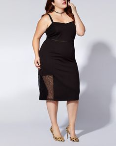 "Rock your curves in this sexy plus-size dress from mblm by Tess Holliday! Its extra stretchy ponte de Roma fabric offers a comfortable fit, while its slim fit showcases your gorgeous figure. It also features adjustable spaghetti straps, lace inserts and a midi length. Kick it up with booties! Length: 37"" at front, 36 1/2"" at back"