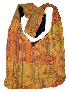 Orange Embroidered Peace and Sunrise Sling Purse Handbag ** See this great product.