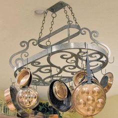 2nd Ave Design Neo Hanging Pot Rack Finish: Graphite Pewter Pot Rack Hanging, Hanging Pots, Feng Shui, Pot Hanger, Style Deco, Luxury Home Decor, Wrought Iron, Home Improvement, Bronze