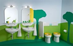 Try choosing a theme or creating a story for the décor 30 Playful And Colorful Kids' Bathroom Design Ideas