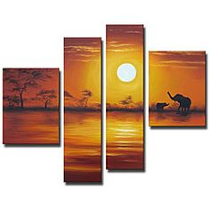 @Overstock - Title: African Sunset   Product type: Hand-painted gallery-wrapped canvas art set Overall dimensions: 44 inches high x 56 inches wide http://www.overstock.com/Home-Garden/African-Sunset-Oil-on-Canvas-Art-Set/5105730/product.html?CID=214117 $120.99