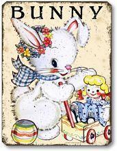 Item 10100 Vintage Style Bunny Nursery Plaque