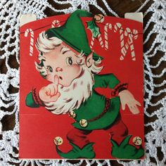 Vintage Die Cut & a Stand Up Christmas Greeting Card Elf & Bag of Toys EB4264