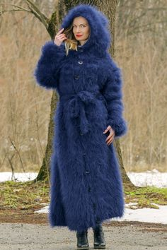 Mohair Cardigan, Long Sweater Coat, Fluffy Sweater, Knitted Coat, Hand Knitted Sweaters, Long Sweaters, Wool Coat, Blue Cardigan, Long Cardigan