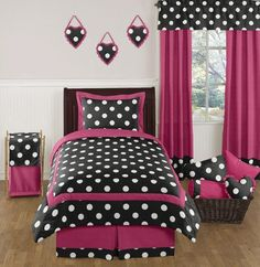 Image detail for -Hot Pink, Black and White Polka Dot Childrens and Teen Bedding Set by ...