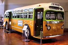 "The National City Lines bus, No. on which Rosa Parks was riding before she was arrested (a GM ""old-look"" transit bus, serial number is now a museum exhibit at the Henry Ford Museum. Rosa Parks Bus, Rosa Parks Facts, Martin Luther King, Detroit, National Civil Rights Museum, Bus Boycott, Henry Ford Museum, Montgomery Alabama, Civil Rights Movement"