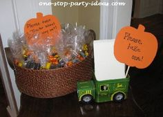 Please take one!  John Deere favor presentation idea.  See more John Deere birthday party ideas at www.one-stop-party-ideas.com