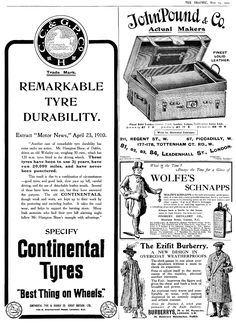 1910. Page of adverts - The Graphic Magazine.