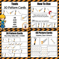 Add these tool pattern cards to your math center during your construction, tool, building, or community helpers unit.  Includes 30 unique pattern cards and 48 picture cards to complete the patterns. 6 AB pattern cards 6 ABB pattern cards 6 AAB pattern cards 6 ABC pattern cards 6 AABB pattern cards 16 saw cards, 16 wrench cards, 16 hammer cards *Students can also use picture cards to make your own patterns.
