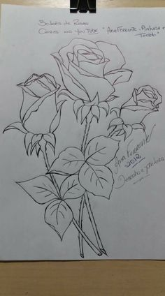 Rose Sketch, Flower Sketches, Drawing Sketches, Art Drawings, Hand Embroidery Patterns, Embroidery Stitches, Embroidery Designs, Painting Patterns, Fabric Painting