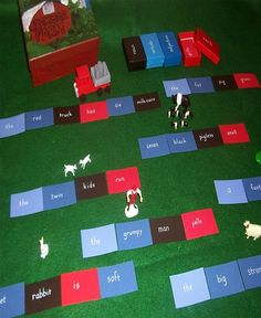 Cards on #Montessori Grammar Farm #MapleLawnMontessori . Learning grammar is fun.
