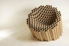 cardboard_tube_chair by Matthew Laws - photo via Art & Design fb page Cardboard Chair, Cardboard Design, Cardboard Tubes, Cardboard Crafts, Cardboard Furniture, Cool Furniture, Furniture Design, Karton Design, Tube Carton