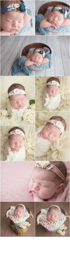 Blue pink and white newborn girl session
