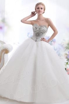 Cute Ball Gown Strapless Basque Waist Chapel Train Tulle Wedding Dress CWUT13006  #cocomelody  #weddingdress