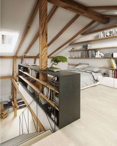 Attic loft design is one of the best space-saving solutions for tiny homes. A loft extension is a great way to add extra space, whether you crave another bedroom, bathroom or work-spaces. Turning your attic into a bedroom is a… Continue Reading → Attic Bedroom Designs, Attic Design, Loft Design, Bedroom Ideas, Bedroom Decor, Small Attic Bedrooms, Deco Design, Design Bedroom, Budget Bedroom