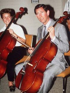 Visiting Melbourne, Australia, Prince Charles plays the cello at the School Of Music, January 1988