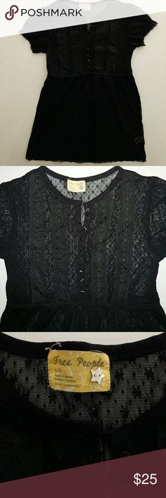 Free people lace sheer babydoll top Plack, sheer, nylon, buttons halfway down, size large Free People Tops Blouses