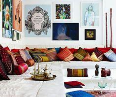 Low seating Deewan style, Indian living room